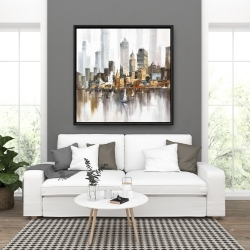 Framed 36 x 36 - Urban landscape and its sailboats