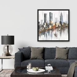 Framed 36 x 36 - Watercolor style city with boats