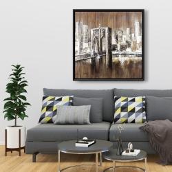 Framed 36 x 36 - Aged finish brooklyn bridge