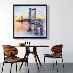 Framed 36 x 36 - Abstract brooklyn bridge