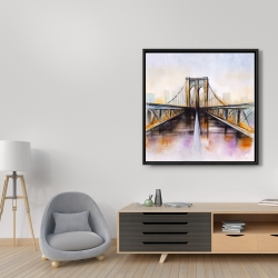 Framed 36 x 36 - Colorful brooklyn bridge