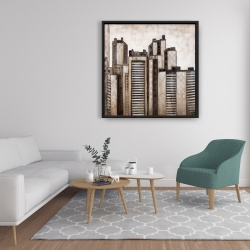 Framed 36 x 36 - Striped skyscrapers