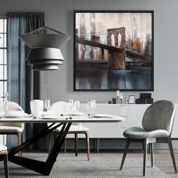 Framed 36 x 36 - Brown and blue brooklyn bridge