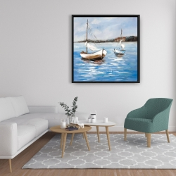 Framed 36 x 36 - Two boats on the water