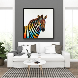 Framed 36 x 36 - Colorful profile view of a zebra