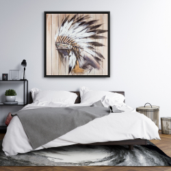 Framed 36 x 36 - Indian with feathers