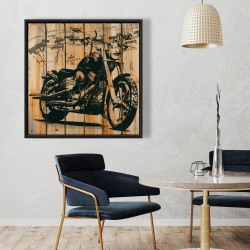 Framed 36 x 36 - Motorcycle on wood background