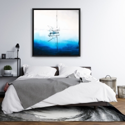 Framed 36 x 36 - White boat on a deep blue water