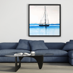 Framed 36 x 36 - Sailboat on a calm water