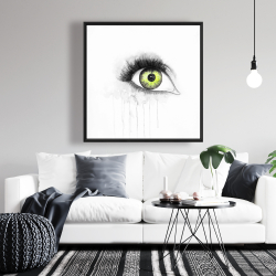 Framed 36 x 36 - Green eye in watercolor