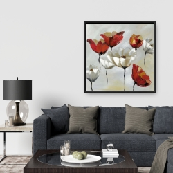 Framed 36 x 36 - Abstract red and white flowers