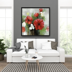 Framed 36 x 36 - Abstract wild flowers bundle