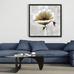 Framed 36 x 36 - Modern beige flower