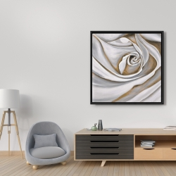 Framed 36 x 36 - White rose closeup
