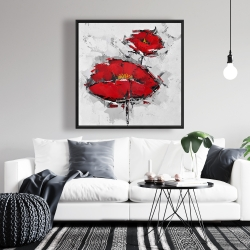 Framed 36 x 36 - Texturized red poppies