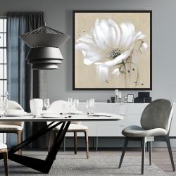Framed 36 x 36 - White abstract wild flower