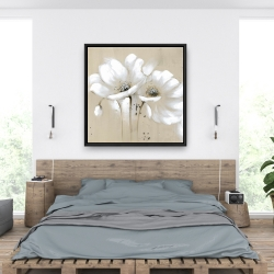 Framed 36 x 36 - White abstract wild flowers
