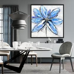 Framed 36 x 36 - Blue flower