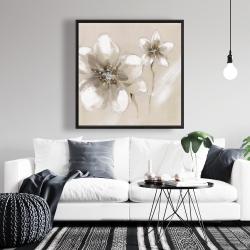 Framed 36 x 36 - Two cream flowers