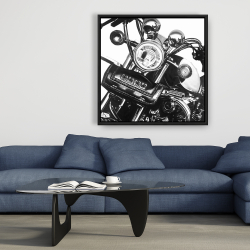 Framed 36 x 36 - Realistic motorcycle