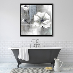 Framed 36 x 36 - Monochrome and silver flowers