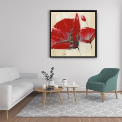 Framed 36 x 36 - Three red flowers