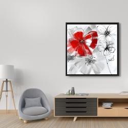 Framed 36 x 36 - Red & gray flowers