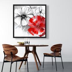 Framed 36 x 36 - Red & white flowers sketch