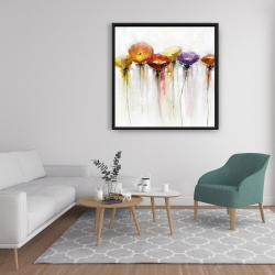 Framed 36 x 36 - Multiple colorful abstract flowers