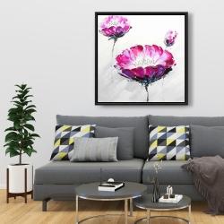 Framed 36 x 36 - Pink wild flowers