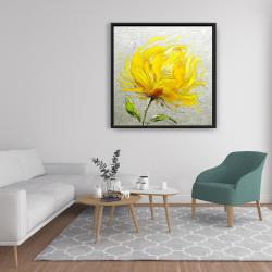 Framed 36 x 36 - Yellow fluffy flower
