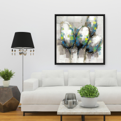 Framed 36 x 36 - Abstract blue tulips