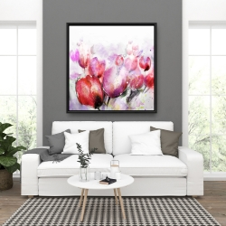 Framed 36 x 36 - Abstract blurry tulips