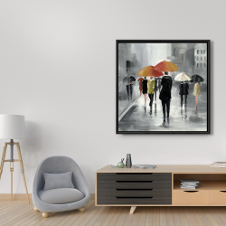 Framed 36 x 36 - Street scene with umbrellas