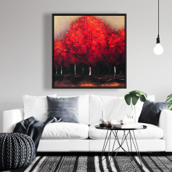 Framed 36 x 36 - Red trees by a dark day