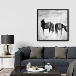 Framed 36 x 36 - Horses silhouettes in the mist