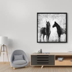 Framed 36 x 36 - Black and white horses