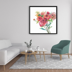 Framed 36 x 36 - Watercolor bouquet of flowers