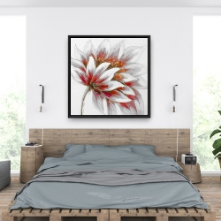 Framed 36 x 36 - Red flower with gold center