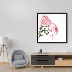Framed 36 x 36 - Watercolor pink roses