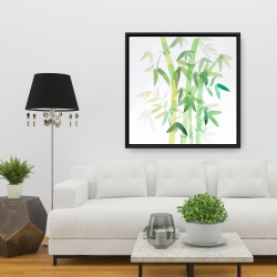 Framed 36 x 36 - Watercolor bamboo with leaves