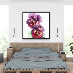 Framed 36 x 36 - Two blossoming orchid with wavy petals