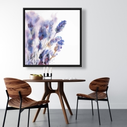 Framed 36 x 36 - Watercolor lavender flowers with blur effect
