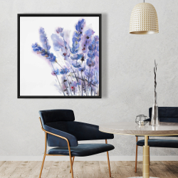Framed 36 x 36 - Watercolor lavender flowers