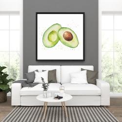 Framed 36 x 36 - Watercolor open avocado