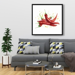 Framed 36 x 36 - Red hot peppers
