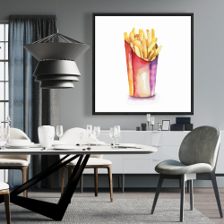 Framed 36 x 36 - Watercolor french fries