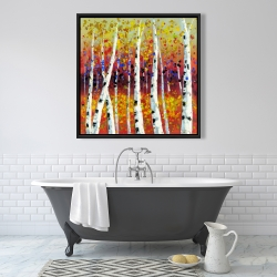 Framed 36 x 36 - Colored birches