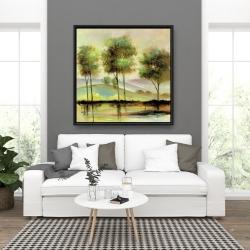 Framed 36 x 36 - Trees near the lake