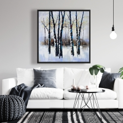 Framed 36 x 36 - Frosted trees